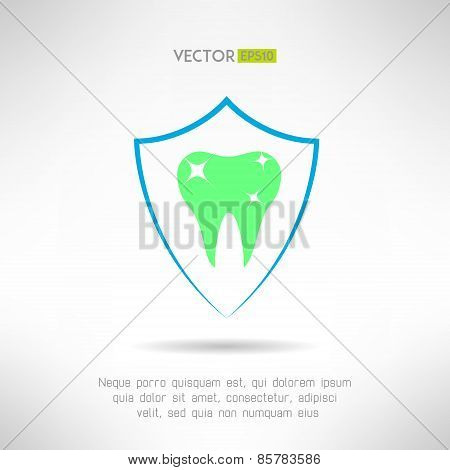 Tooth in a shield icon. Teeth protection concept symbol. Vector illustration