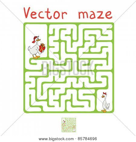 Vector Maze, Labyrinth education Game for Children with Ducks.