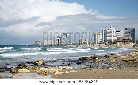 The Tel Aviv Skyline And The Mediterranean Sea