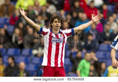 BARCELONA - MARCH, 14: Tiago Mendes of Atletico Madrid during a Spanish League match against RCD Espanyol at the Estadi Cornella on March 14, 2015 in Barcelona, Spain