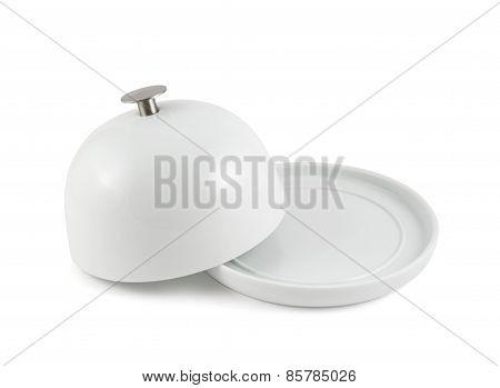 Ceramic plate cover over white dish