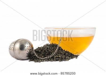 Glass piola bowl of tea isolated