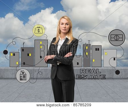 Businesswoman With Drawing Real Estate