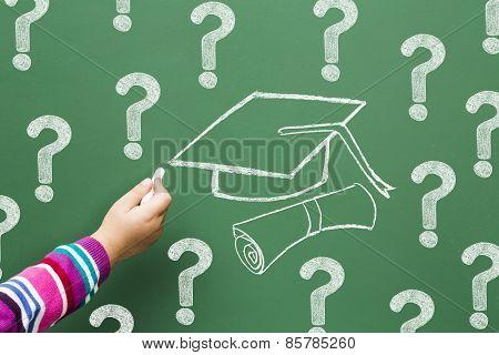Question Mark Drawn In Chalk On A Blackboard