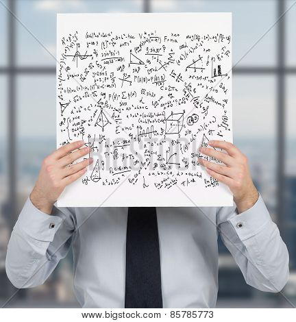 Businessman Holding Poster With Mathematics Formulas