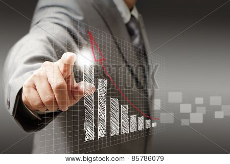 Businessman Hand Touch Virtual Graph,chart, Diagram