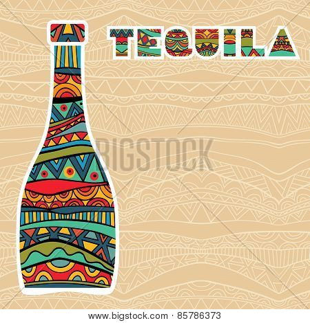 Mexican Background With Fancy Bottles Of Tequila