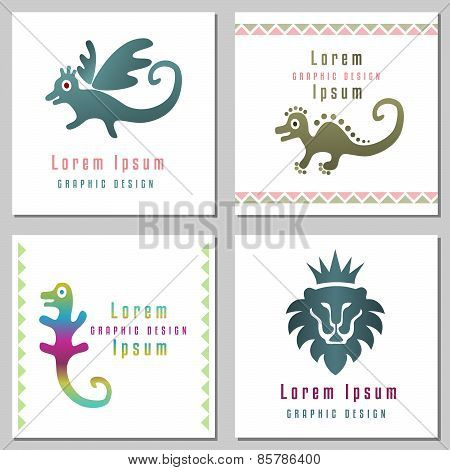 Collection Of Abstract Animals Symbols