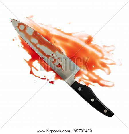 Chef's steel knife covered with blood