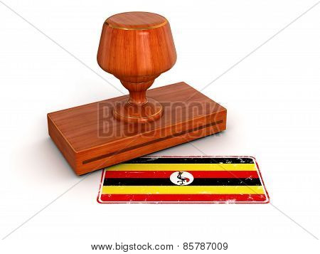 Rubber Stamp Uganda flag (clipping path included)