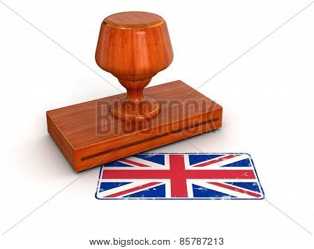 Rubber Stamp United Kingdom flag (clipping path included)