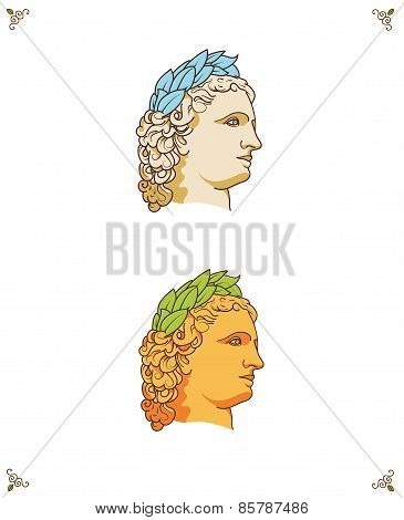 vector greek man head logo