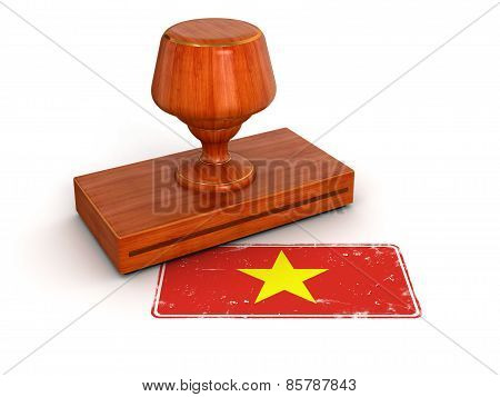 Rubber Stamp Vietnamese flag (clipping path included)
