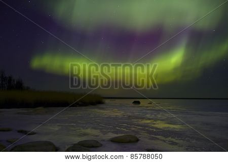 Northern lights, lake Ladoga , Russia