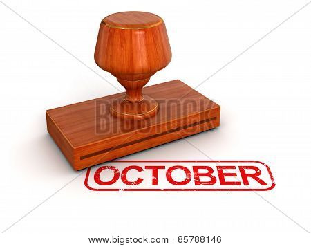 Rubber Stamp October (clipping path included)