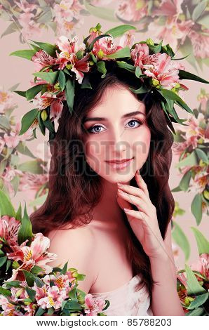 Young Woman Wearing Pink Flowers On Her Head