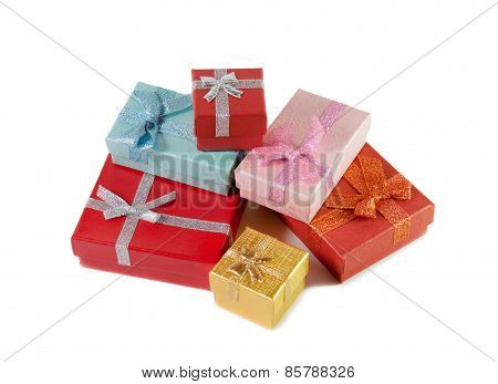 Stack Of Colorful Gift Boxes Isolated On White