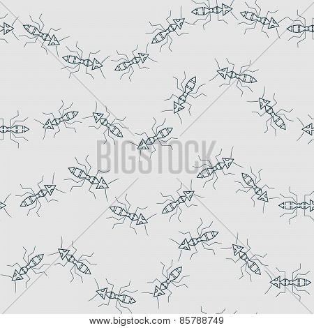 Seamless Pattern With Abstract Ants