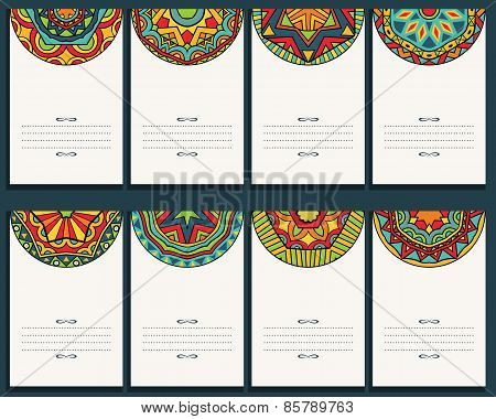 Set Of 8 Cards With Mexican Ornaments