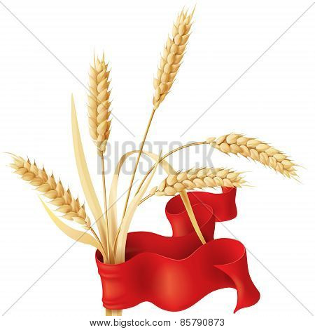 Wheat Ears Tuft And Ribbon