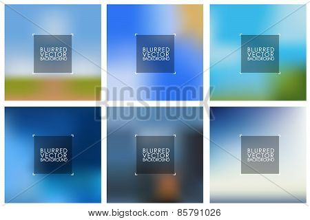 Set Of Vector Blue Blurred Backgrounds