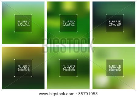 Set Of Vector Green Blurred Backgrounds