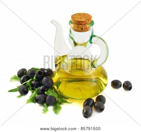 Olive oil glass vessel isolated