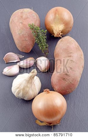 Ingredients To Make A Sweet Potato Onion Soup