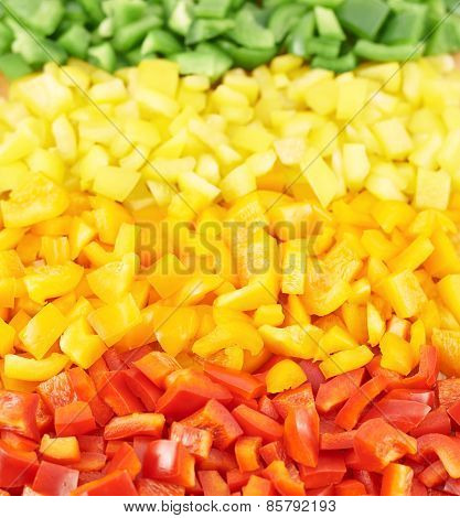 Sweet bell pepper cut into pieces