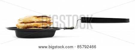 Heart shaped flapjack pancake in a pan