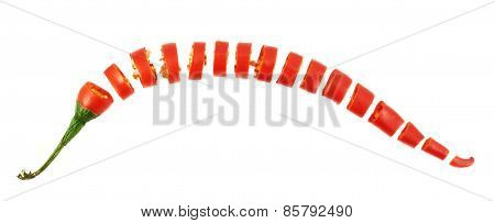 Sliced in pieces chili pepper isolated