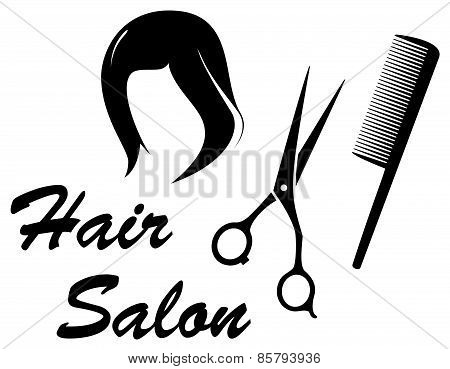 Hair salon Icon With Woman Head