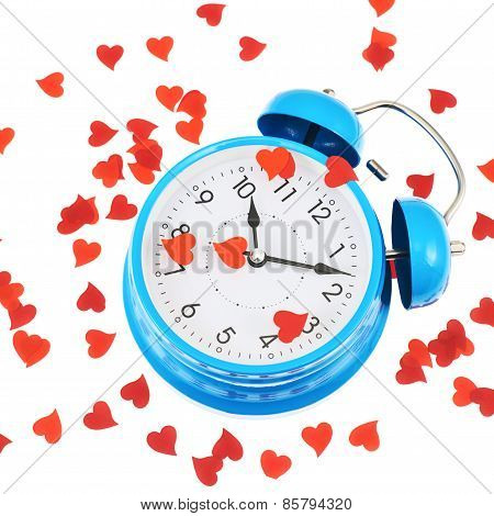Alarm clock covered with hearts