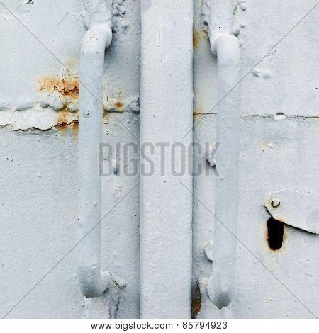 Painted old metal door fragment