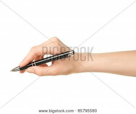 Female caucasian hand holding pen