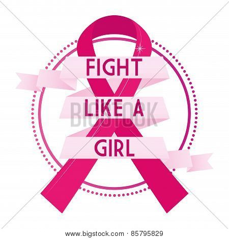 Pink breast cancer symbol and text