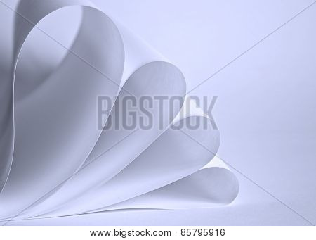 Sheets of paper rolled