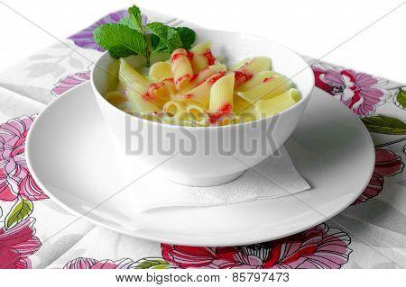 Milky Soup With Tagliatelle Pasta