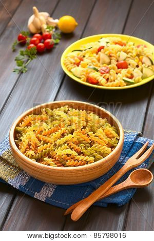 Raw Fusilli Pasta and Vegetarian Pasta Salad