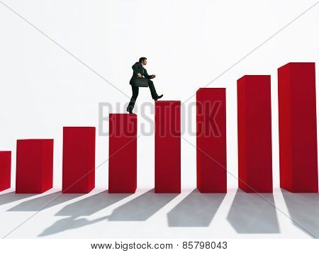 businessman running up the stairs