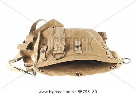 Brown army shoulder bag isolated