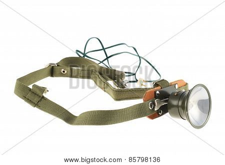 Army head flashlight isolated