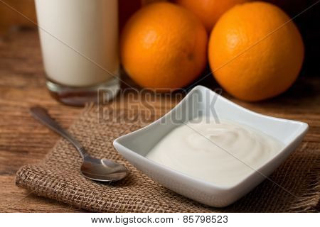 Morning With White Yogurt On Jute Cloth