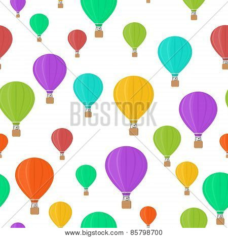 Flat colored aerostats on white seamless pattern