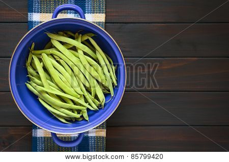 Raw Green Beans in Strainer