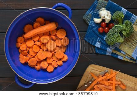 Raw Sliced Carrot in Strainer
