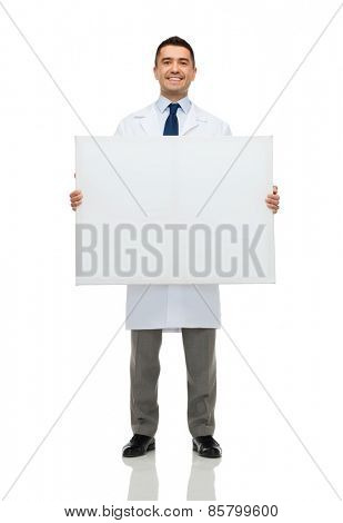healthcare, advertisement, people and medicine concept - smiling male doctor or scientist in white coat holding white blank board