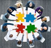 picture of jigsaw  - Business People Jigsaw Puzzle Collaboration Team Concept - JPG