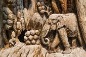 picture of wood craft  - Hand Carved Elephant Wood Craft  - JPG