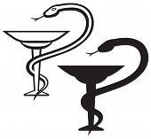 picture of clip-art staff  - Caduceus - JPG